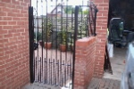 Pedestrian side gate and wall top railing